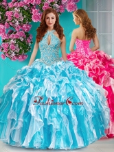 Classical Beaded and Ruffled Halter Top Quinceanera Dress in Baby Blue and White SJQDDT638002FOR