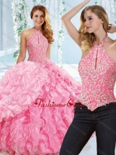 Cut Out Bust Beaded Bodice Detachable Quinceanera Dress with Halter Top SJQDDT540002AFOR