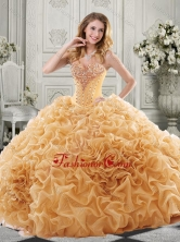 Discount Beaded Bodice and Ruffled Quinceanera Dress with Chapel Train SJQDDT516002FOR