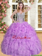 Discount Beaded and Ruffled Quinceanera Dress in Lilac for Spring  YSQD007-3FOR