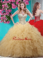 Discount Gold Really Puffy Quinceanera Dress with Beading and Ruffles SJQDDT660002FOR