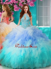 Discount Rainbow Halter Top Sweet 16 Dress with Beading and Ruffles SJQDDT635002FOR