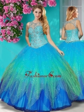 Discount See Through Beaded Scoop Quinceanera Dress in Multi Color SJQDDT606002FOR