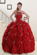 Discount Strapless Wine Red Appliques Quinceanera Dresses for 2015 XFNAO230FOR