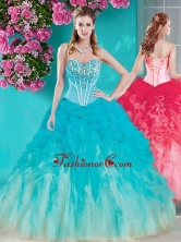 Discount Visible Boning Beaded Quinceanera Dress in White and Blue SJQDDT679002FOR