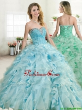 Elegant Beaded and Ruffled Quinceanera Dress in Baby Blue YYPJ047-1FOR