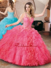 Elegant Beaded and Ruffled Quinceanera Dress with Detachable Straps XFQD1046FOR