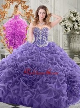 Elegant Brush Train Lavender Quinceanera Gown with Beaded Bodice and Ruffles  SJQDDT523002FOR