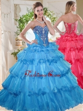 Elegant Puffy Skirt Beaded and Ruffled Layers Quinceanera Gown SJQDDT738002FOR