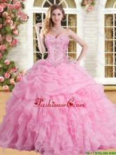 Elegant Rose Pink Sweet 16 Dress with Appliques and Beading YSQD002-3FOR