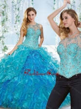 Elegant See Through Beaded and Ruffled Detachable Quinceanera Dress in Blue SJQDDT536002AFOR