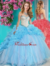Exclusive Beaded and Ruffled Big Puffy Quinceanera Dress with Brush Train SJQDDT651002FOR