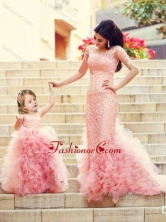 Exclusive Column Long Sleeves Prom Dress with Brush Train and Affordable Ruffled and Laced Little Girl Dress in Watermelon Red DXZH015FOR