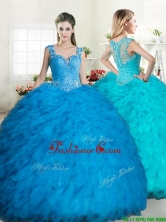 Exclusive Straps Tulle Quinceanera Dress with Beading and Ruffles YYPJ060FOR