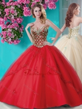 Exquisite Applique and Rhinestoned Big Puffy Quinceanera Dress in Red SJQDDT659002FOR