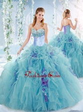 Exquisite Beaded Bust and Ruffled Detachable Quinceanera Dresses in Aqua Blue SJQDDT548002FOR