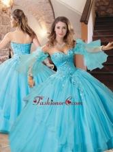 Exquisite Organza Applique with Beading Quinceanera Dress in Aqua Blue XFQD1041FOR