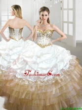 Fashionable Beaded and Pick Ups Quinceanera Dress in White and Gold YYPJ061FOR