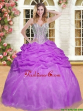 Fashionable Beaded and Pick Ups Sweet 16 Dress in Eggplant Purple YSQD006-3FOR