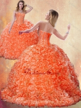 Fashionable Brush Train Orange Quinceanera Dresses with Beading and Ruffles SJQDDT401002FOR