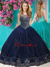 Fashionable See Through Scoop Quinceanera Dress with Beading and Appliques SJQDDT622002FOR