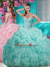 Flirting Brush Train Really Puffy Quinceanera Dress with Beading and Ruffles SJQDDT642002FOR