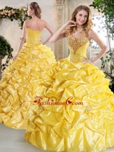 Gorgeous Ball Gown Quinceanera Gowns with Beading and Pick Ups for Spring QDDTG1002AFOR