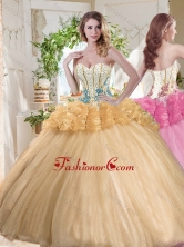 Gorgeous Beaded and Bubble Organza Sweet 16 Dress in Gold SJQDDT724002FOR