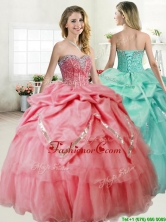 Gorgeous Beaded and Pick Ups Quinceanera Dress in Coral Red YYPJ055FOR