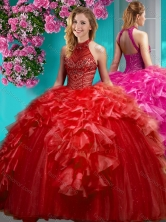Gorgeous Beaded and Ruffled Quinceanera Dress with Halter Top SJQDDT615002FOR