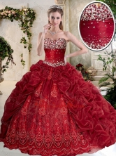 Gorgeous Brush Train Wine Red Quinceanera Gowns with Embroidery  SJQDDT395002-1FOR