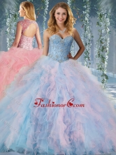 Gorgeous Rainbow Big Puffy Quinceanera Gown with Beading and RufflesSJQDDT596002FOR