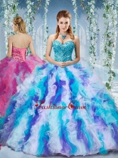 Gorgeous Rainbow Colored Big Puffy Quinceanera Dress with Beading and RufflesSJQDDT580002FOR