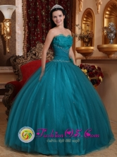 La Tiza Panama Hand Made Flowers Teal Unique Quinceanera Dress For 2013 With Sweetheart In Soecial Design Style QDZY699FOR