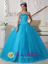 Las Minas Panama Beaded Decorate Sweetheart Tulle Romantic Teal Ball Gown For 2013 Winter Quinceanera Style QDZY732FOR
