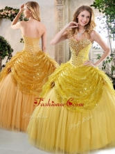 Latest Ball Gown Sweet 16 Dresses with Beading and Paillette for Fall QDDTH1002A-1FOR