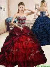Latest Beaded and Pick Ups Quinceanera Dress with Brush Train YYPJ057FOR