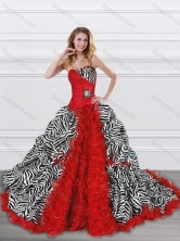 Latest Beaded and Ruffled Red and Zebra Quinceanera Dress with Brush Train XFQD1000FOR