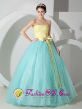 Los Lotes Panama Fabulous Baby Blue and Yellow Evening Dress Sash and Ruched Bodice Decorate Style MLXNHY05FOR