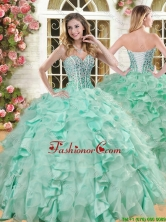 Lovely Big Puffy Apple Green Quinceanera Gown with Beading and Ruffles YSQD004-2FOR