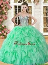 Lovely Spring Green Sweet 16 Dress with Beading and Ruffles YSQD008-3FOR