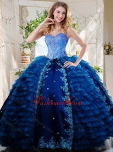 Luxurious Beaded and Applique Royal Blue Quinceanera Dress in Taffeta and Tulle SJQDDT736002FOR