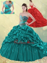 Luxurious Brush Train Taffeta Bubble Quinceanera Dress in Turquoise SJQDDT496002FOR