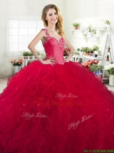 Luxurious Straps Beaded and Ruffled Quinceanera Dress in Red YYPJ029-2FOR