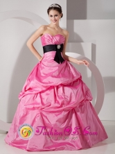 Mata del Nance Panama Rose Pink For Quinceanea Dress With Taffeta Sash and Ruched Bodice For Spring Style MLXNHY02FOR
