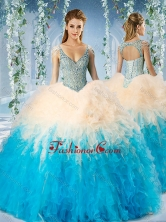 Modest Beaded Decorated Cap Sleeves Quinceanera Dress in Blue and ChampagneSJQDDT592002FOR