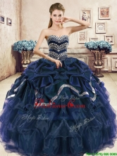 Modest Navy Blue Organza Quinceanera Dress with Beading and Pick Ups YYPJ037-2FOR