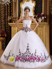 Morti Panama Embroidery Discount White Tulle Strapless Quinceanera Dress For 2013 Custom Made   Ball Gown in Summer Style  QDZY225FOR
