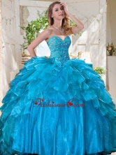 New Arrivals Beaded Bodice and Ruffled Quinceanera Dress in Tulle SJQDDT732002FOR