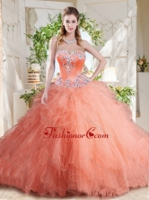 New Arrivals Beaded and Ruffled Big Puffy Quinceanera Dress with Orange SJQDDT722002FOR